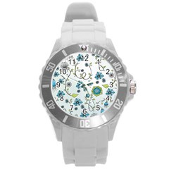 Blue Whimsical Flowers  On Blue Plastic Sport Watch (large)