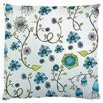Blue Whimsical Flowers  on blue Large Cushion Case (Two Sided)  Front
