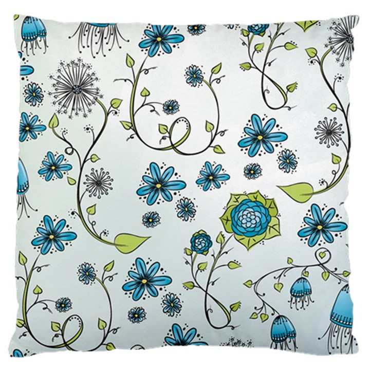 Blue Whimsical Flowers  on blue Large Cushion Case (Two Sided)