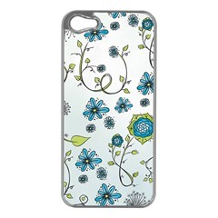 Blue Whimsical Flowers  On Blue Apple Iphone 5 Case (silver)