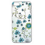 Blue Whimsical Flowers  on blue Apple Seamless iPhone 5 Case (Clear) Front