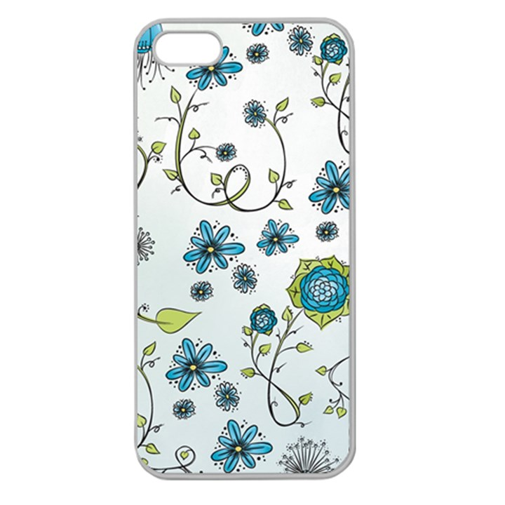 Blue Whimsical Flowers  on blue Apple Seamless iPhone 5 Case (Clear)