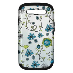 Blue Whimsical Flowers  On Blue Samsung Galaxy S Iii Hardshell Case (pc+silicone)