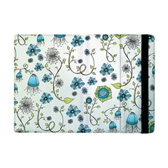 Blue Whimsical Flowers  on blue Apple iPad Mini Flip Case
