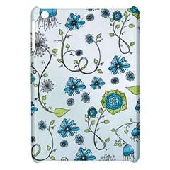 Blue Whimsical Flowers  On Blue Apple Ipad Mini Hardshell Case