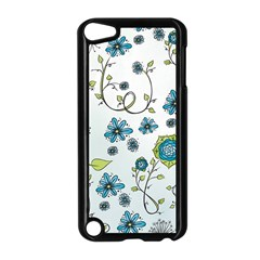 Blue Whimsical Flowers  On Blue Apple Ipod Touch 5 Case (black)