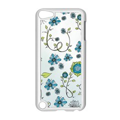 Blue Whimsical Flowers  On Blue Apple Ipod Touch 5 Case (white)