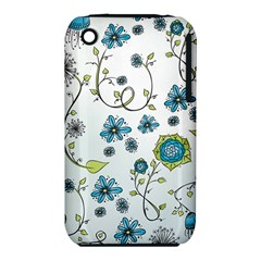 Blue Whimsical Flowers  on blue Apple iPhone 3G/3GS Hardshell Case (PC+Silicone)