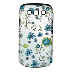 Blue Whimsical Flowers  on blue Samsung Galaxy S III Classic Hardshell Case (PC+Silicone)