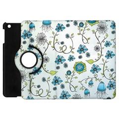 Blue Whimsical Flowers  On Blue Apple Ipad Mini Flip 360 Case