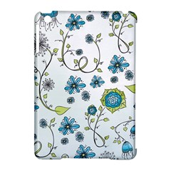 Blue Whimsical Flowers  On Blue Apple Ipad Mini Hardshell Case (compatible With Smart Cover)