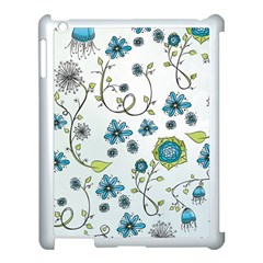 Blue Whimsical Flowers  on blue Apple iPad 3/4 Case (White)