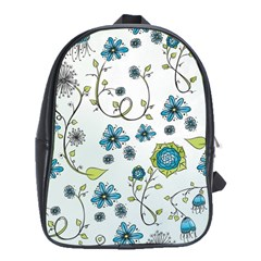 Blue Whimsical Flowers  on blue School Bag (XL)
