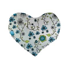 Blue Whimsical Flowers  on blue 16  Premium Heart Shape Cushion