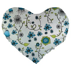 Blue Whimsical Flowers  On Blue 19  Premium Heart Shape Cushion