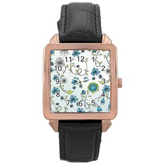 Blue Whimsical Flowers  on blue Rose Gold Leather Watch
