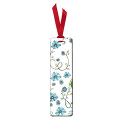 Blue Whimsical Flowers  On Blue Small Bookmark