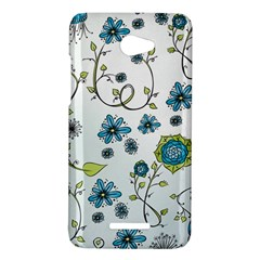 Blue Whimsical Flowers  on blue HTC Butterfly (X920e) Hardshell Case