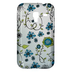 Blue Whimsical Flowers  on blue Samsung Galaxy Ace Plus S7500 Hardshell Case
