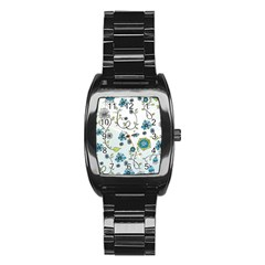 Blue Whimsical Flowers  on blue Stainless Steel Barrel Watch