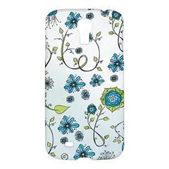 Blue Whimsical Flowers  on blue Samsung Galaxy S4 I9500/I9505 Hardshell Case