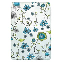 Blue Whimsical Flowers  on blue Removable Flap Cover (Large)