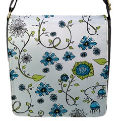 Blue Whimsical Flowers  on blue Flap Closure Messenger Bag (Small)
