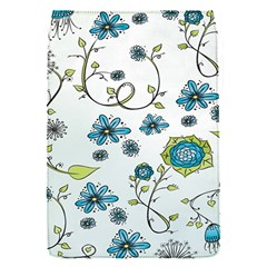 Blue Whimsical Flowers  on blue Removable Flap Cover (Small)