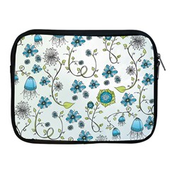 Blue Whimsical Flowers  on blue Apple iPad Zippered Sleeve