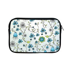 Blue Whimsical Flowers  On Blue Apple Ipad Mini Zippered Sleeve