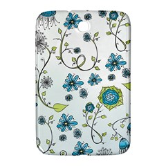 Blue Whimsical Flowers  On Blue Samsung Galaxy Note 8 0 N5100 Hardshell Case