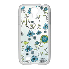 Blue Whimsical Flowers  on blue Samsung GALAXY S4 I9500/ I9505 Case (White)
