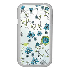 Blue Whimsical Flowers  on blue Samsung Galaxy Grand DUOS I9082 Case (White)