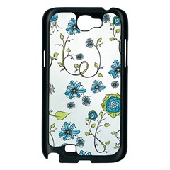 Blue Whimsical Flowers  on blue Samsung Galaxy Note 2 Case (Black)