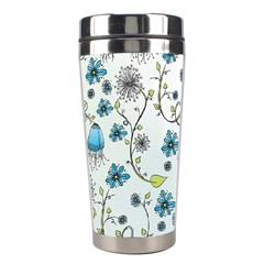 Blue Whimsical Flowers  on blue Stainless Steel Travel Tumbler