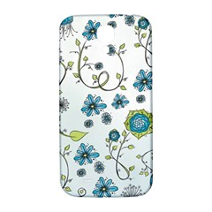 Blue Whimsical Flowers  on blue Samsung Galaxy S4 I9500/I9505  Hardshell Back Case