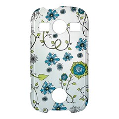 Blue Whimsical Flowers  on blue Samsung Galaxy S7710 Xcover 2 Hardshell Case