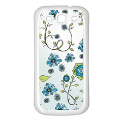 Blue Whimsical Flowers  on blue Samsung Galaxy S3 Back Case (White)
