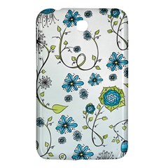 Blue Whimsical Flowers  On Blue Samsung Galaxy Tab 3 (7 ) P3200 Hardshell Case