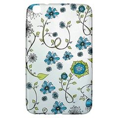 Blue Whimsical Flowers  On Blue Samsung Galaxy Tab 3 (8 ) T3100 Hardshell Case