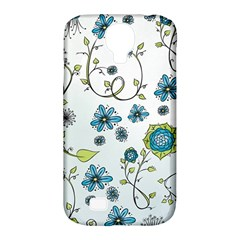 Blue Whimsical Flowers  on blue Samsung Galaxy S4 Classic Hardshell Case (PC+Silicone)