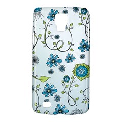 Blue Whimsical Flowers  on blue Samsung Galaxy S4 Active (I9295) Hardshell Case