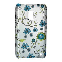 Blue Whimsical Flowers  on blue Nokia Lumia 620 Hardshell Case