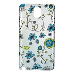 Blue Whimsical Flowers  on blue Samsung Galaxy Note 3 N9005 Hardshell Case