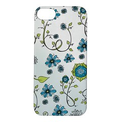 Blue Whimsical Flowers  On Blue Apple Iphone 5s Hardshell Case