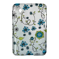 Blue Whimsical Flowers  On Blue Samsung Galaxy Tab 2 (7 ) P3100 Hardshell Case