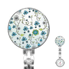 Blue Whimsical Flowers  on blue Stainless Steel Nurses Watch