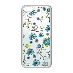 Blue Whimsical Flowers  on blue Apple iPhone 5C Seamless Case (White)