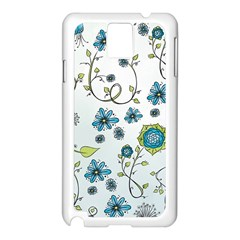 Blue Whimsical Flowers  on blue Samsung Galaxy Note 3 N9005 Case (White)