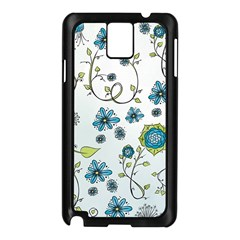 Blue Whimsical Flowers  On Blue Samsung Galaxy Note 3 N9005 Case (black)